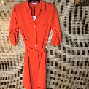 Calvin Klein Orange button down Shirt Dress